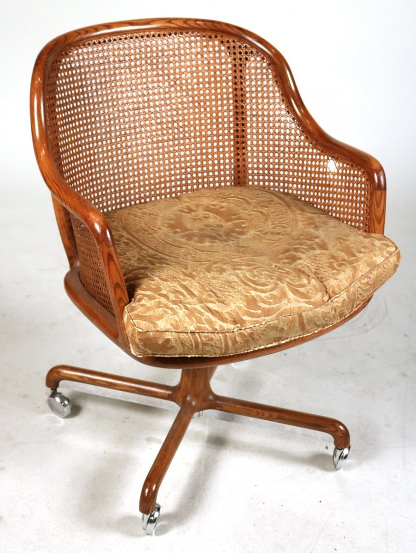 Two Oak and Rattan Desk Chairs - 5
