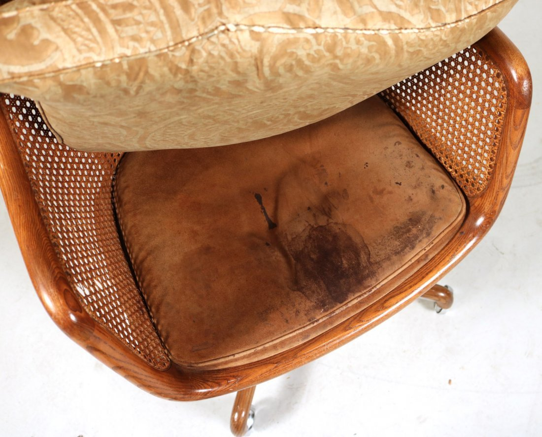 Two Oak and Rattan Desk Chairs - 7