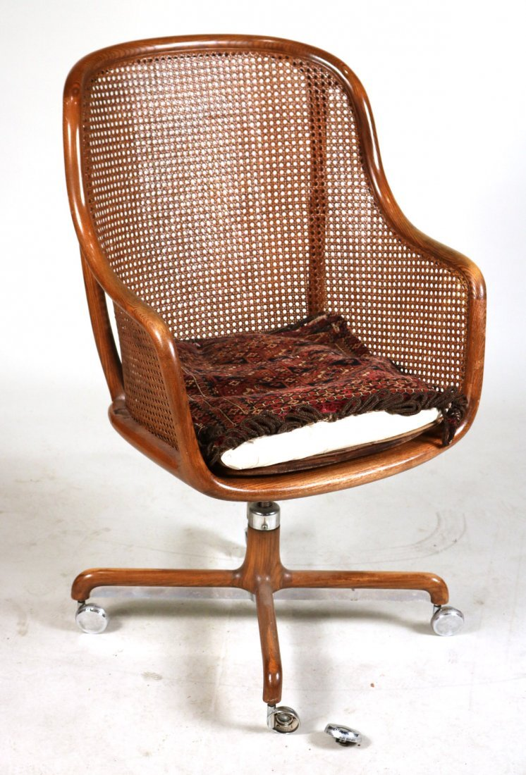 Two Oak and Rattan Desk Chairs - 8