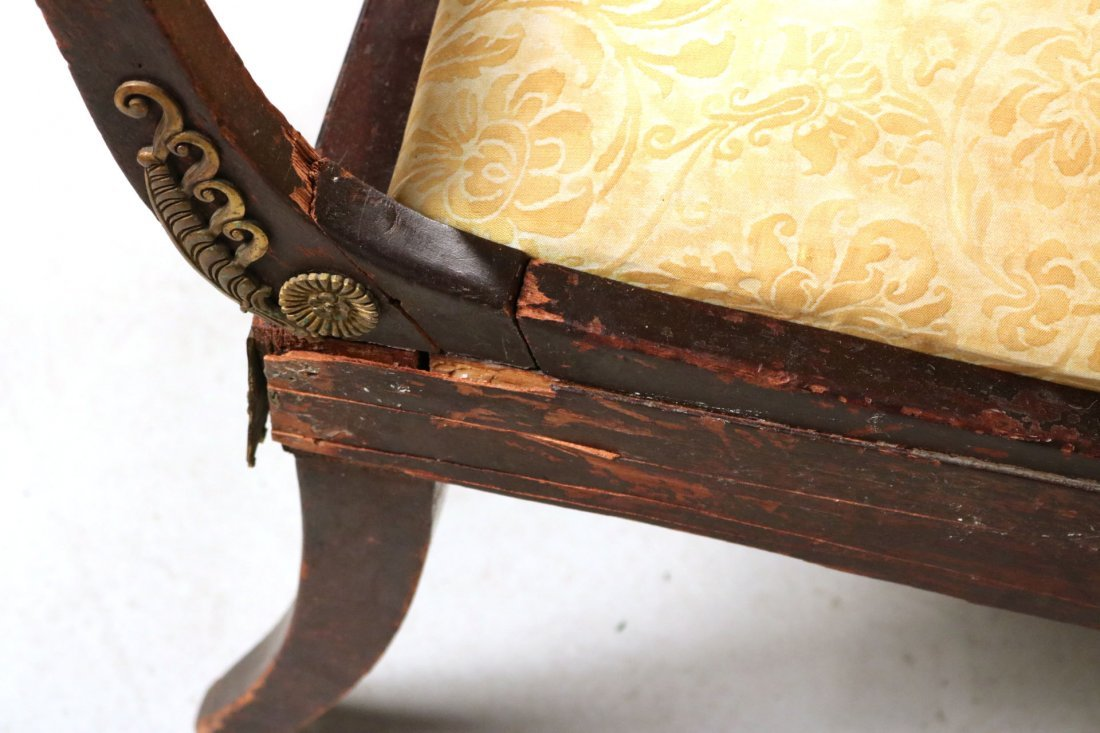 Empire Style Brass-Mounted Mahogany Chaise - 7