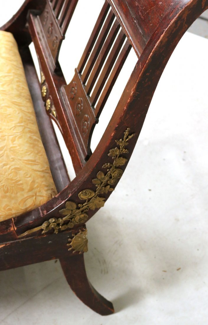 Empire Style Brass-Mounted Mahogany Chaise - 8
