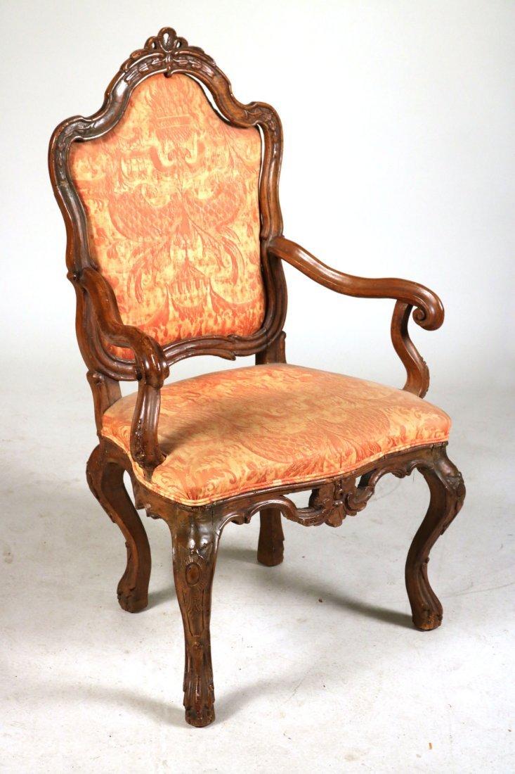 Rococo Carved Walnut Armchair