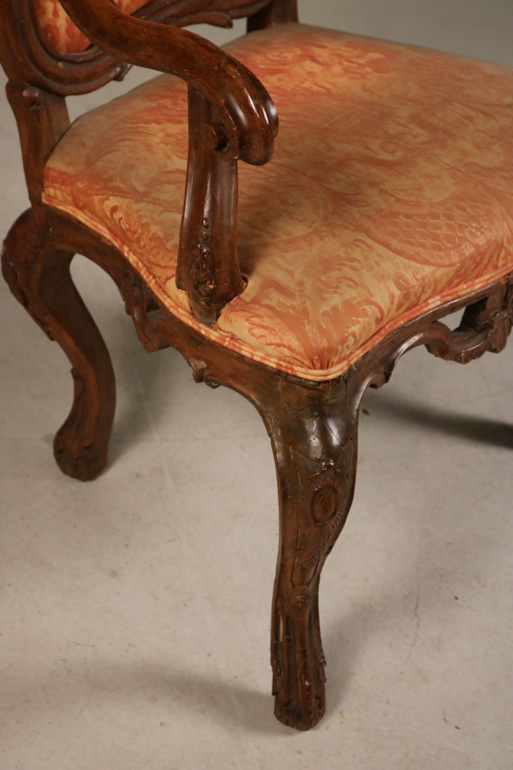 Rococo Carved Walnut Armchair - 2