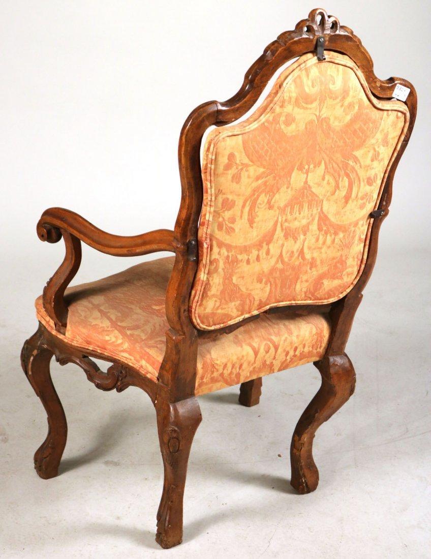 Rococo Carved Walnut Armchair - 5