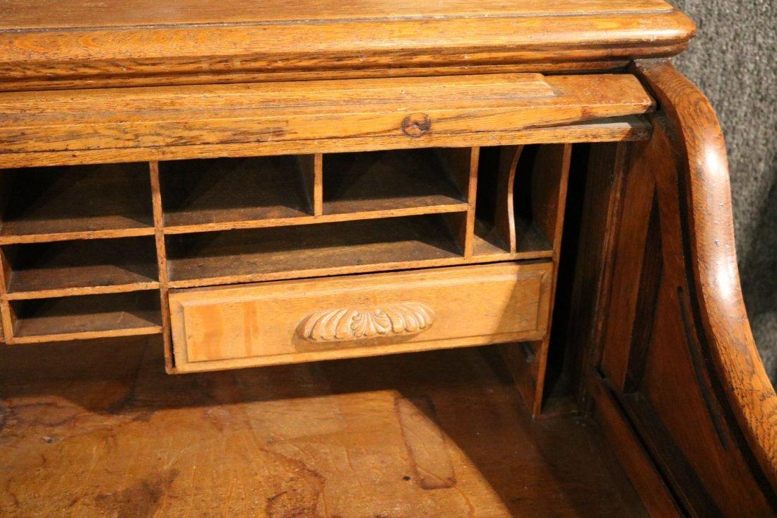 Oak Rolltop Desk - 3