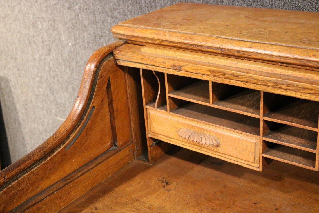 Oak Rolltop Desk - 4