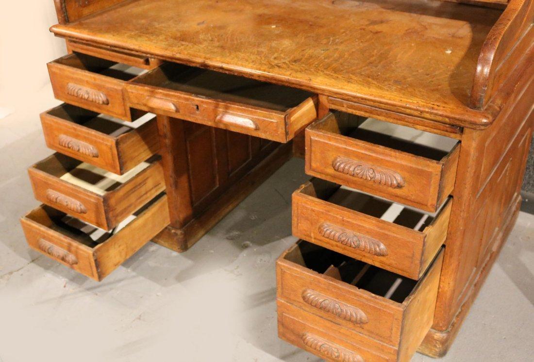 Oak Rolltop Desk - 6