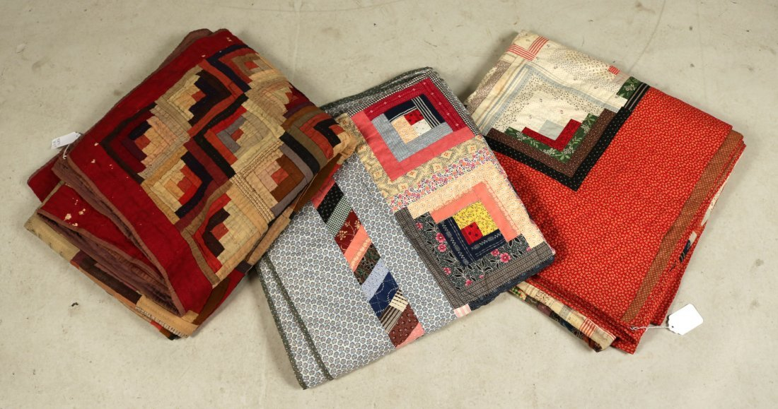 Three Log Cabin Hand-Stitched Pieced Quilts