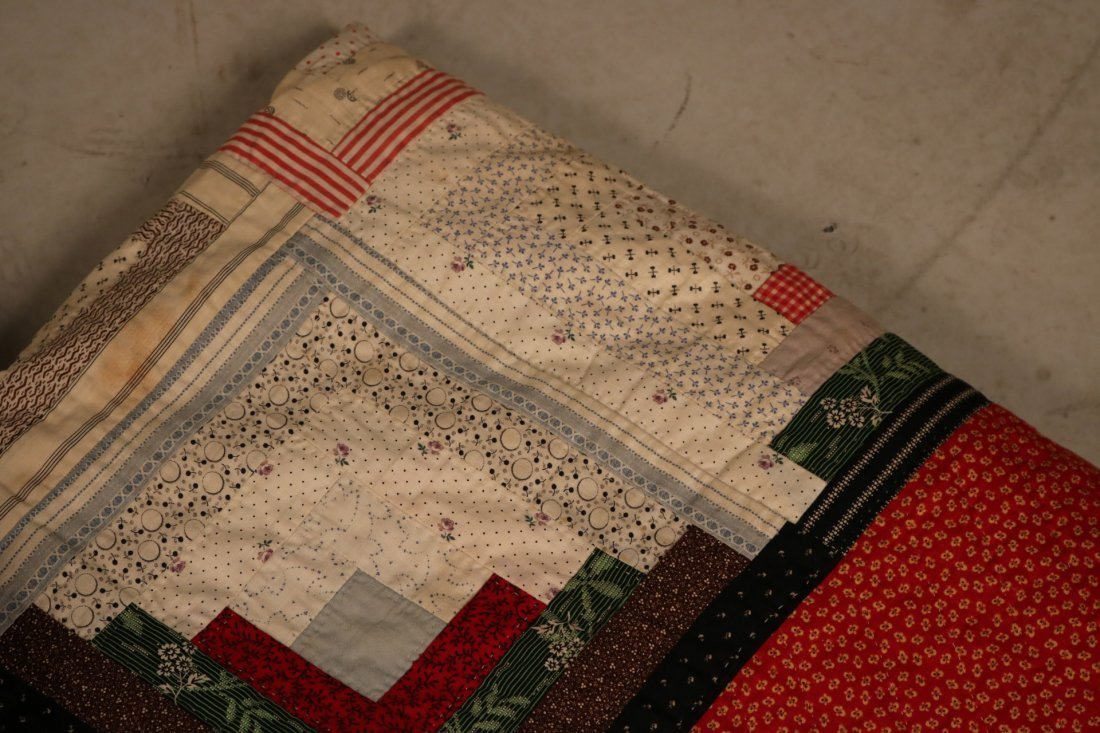 Three Log Cabin Hand-Stitched Pieced Quilts - 2