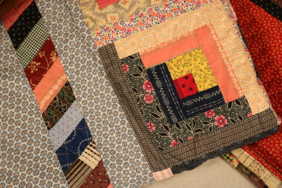 Three Log Cabin Hand-Stitched Pieced Quilts - 4