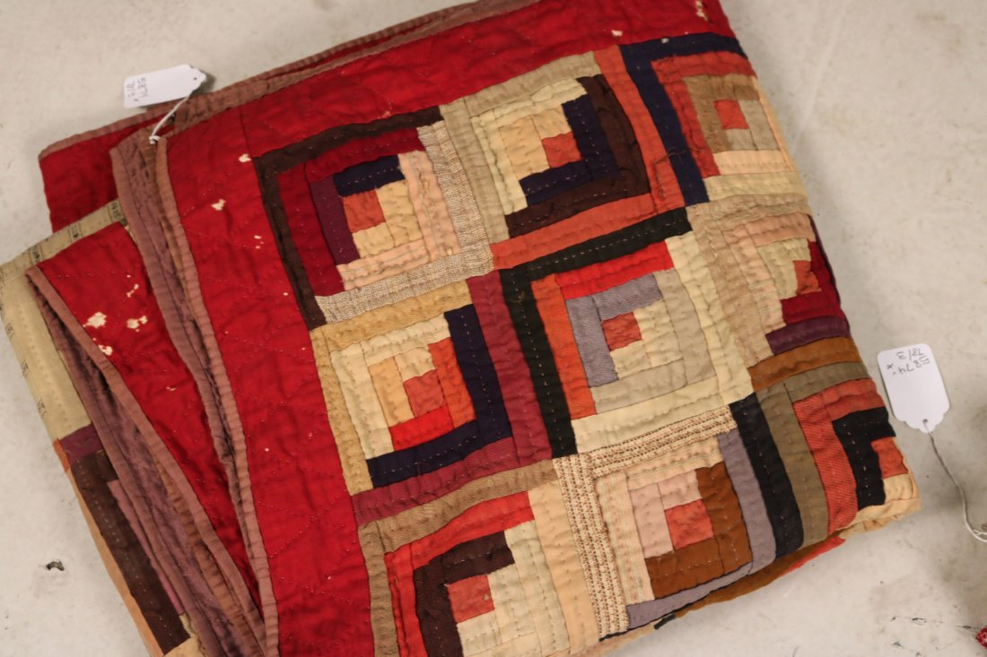 Three Log Cabin Hand-Stitched Pieced Quilts - 6
