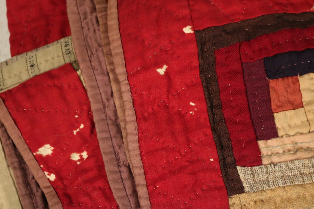 Three Log Cabin Hand-Stitched Pieced Quilts - 7