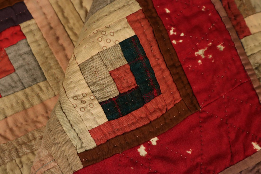 Three Log Cabin Hand-Stitched Pieced Quilts - 8