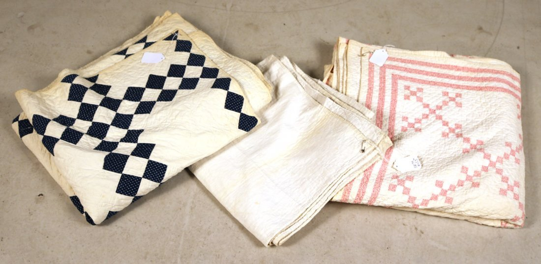 Three Hand-Stiched Pieced Cotton Quilts