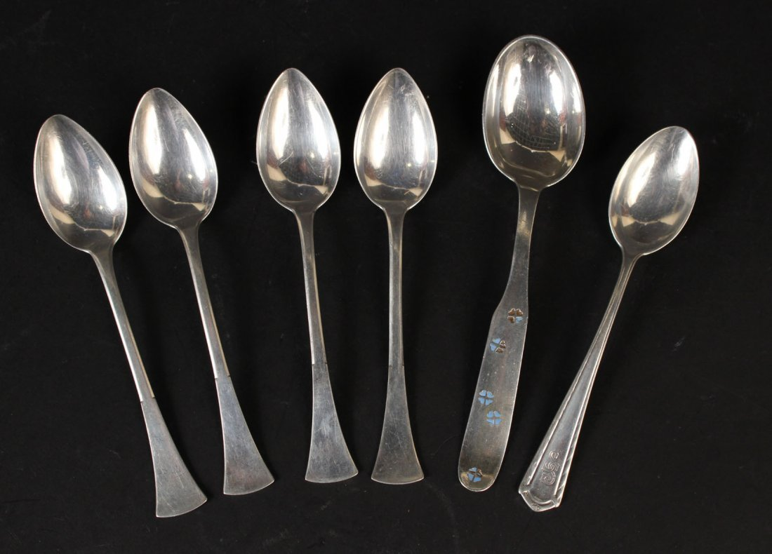 Set of Six Tiffany & Co Gilt Silver Coffee Spoons - 7
