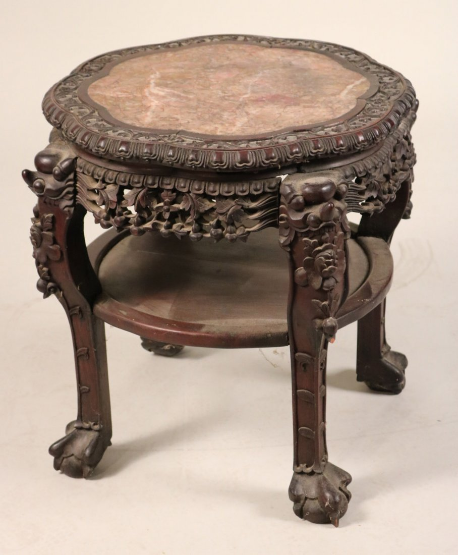 Chinese Marble-Inset Hardwood Side Table