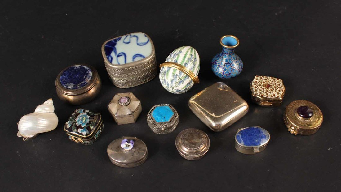 Thirteen Miniature Pill Boxes
