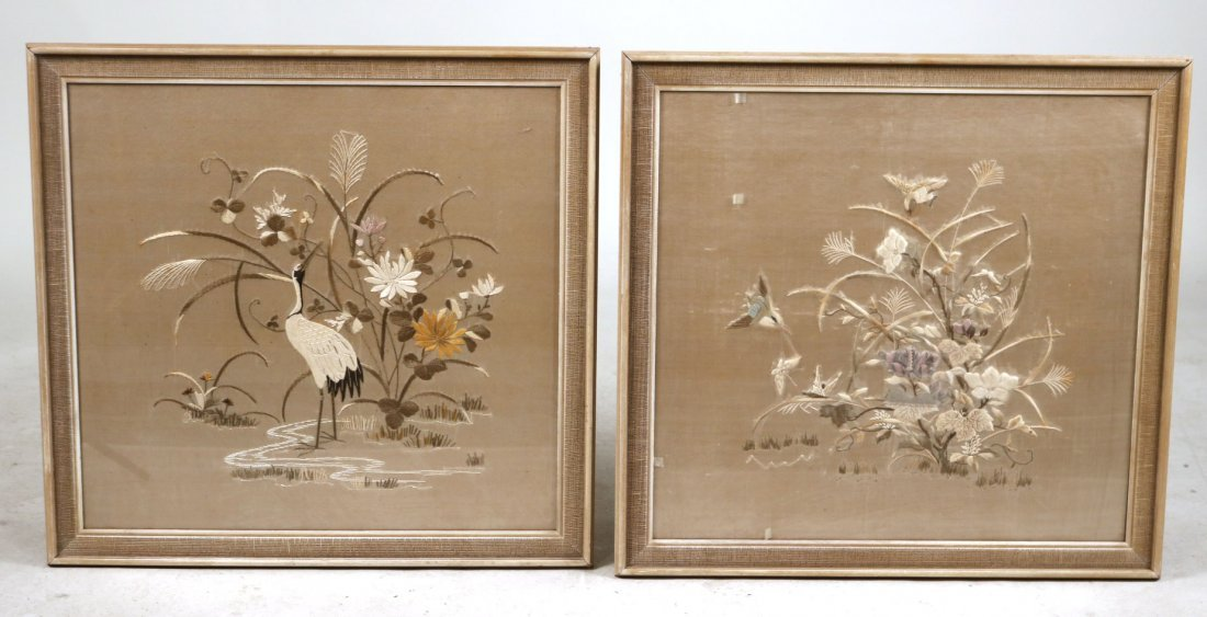 Pair of Needleworks of Cranes and Flowers