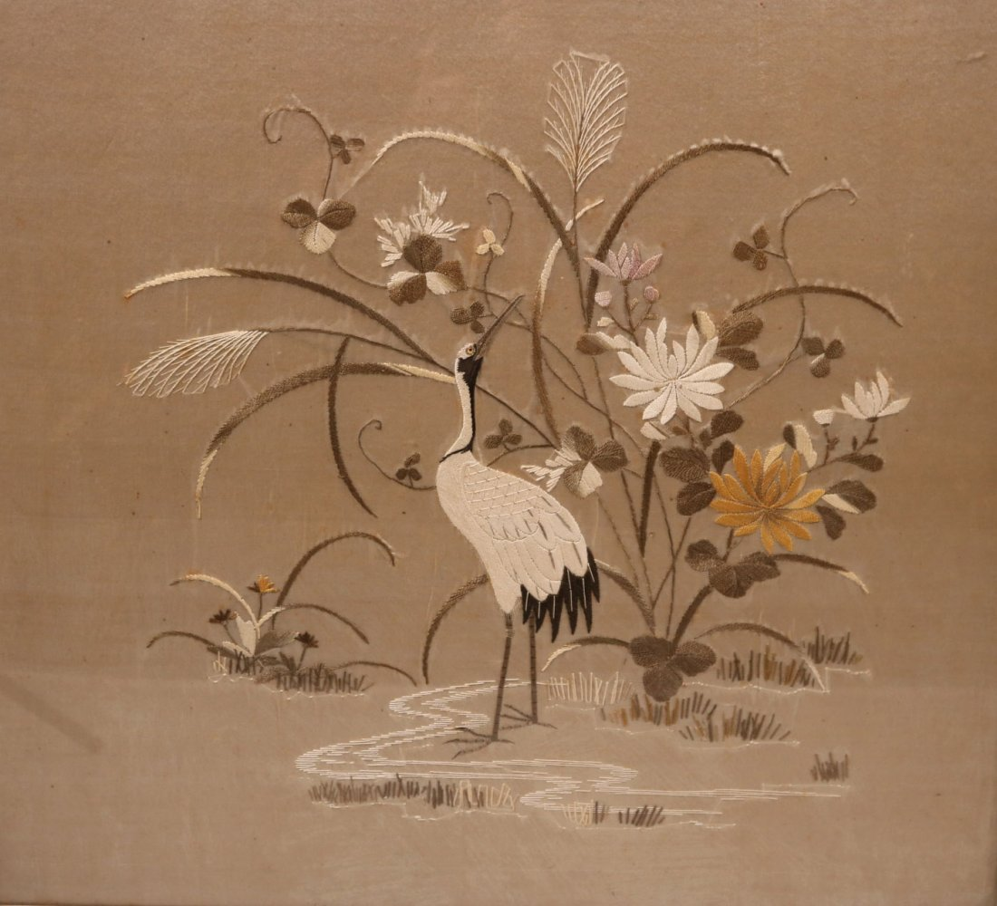 Pair of Needleworks of Cranes and Flowers - 2
