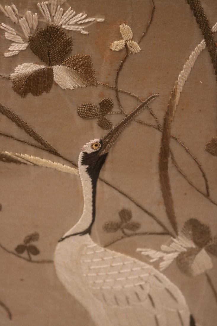 Pair of Needleworks of Cranes and Flowers - 3