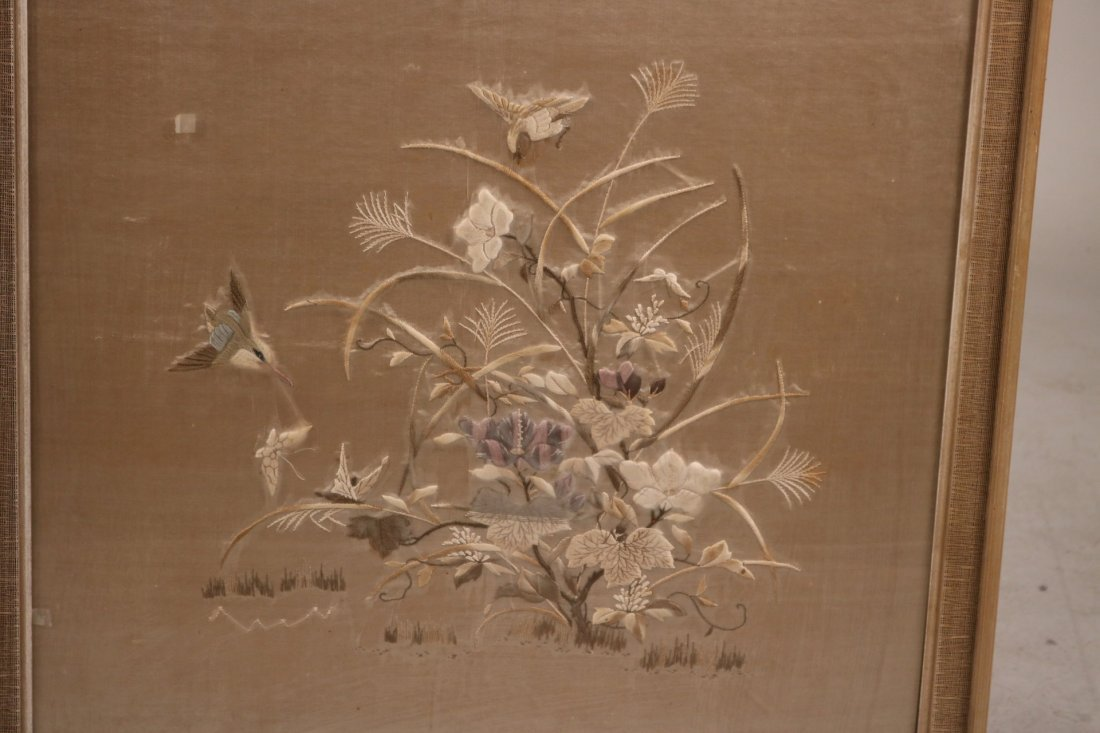 Pair of Needleworks of Cranes and Flowers - 4