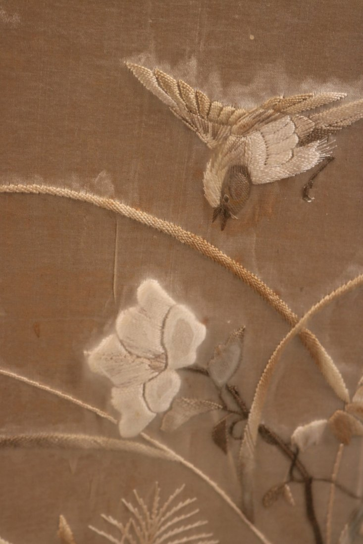 Pair of Needleworks of Cranes and Flowers - 6