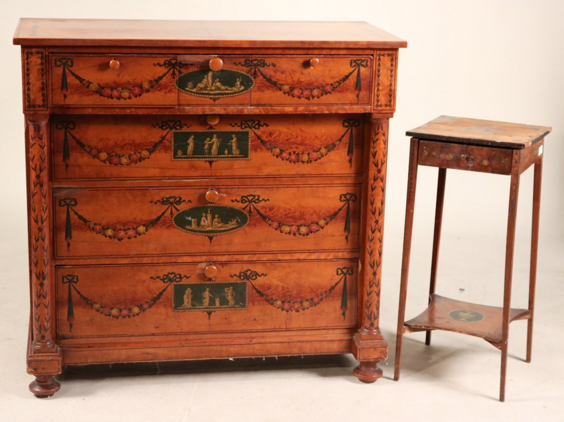 Edwardian Style Paint-Decorated Chest of Drawers