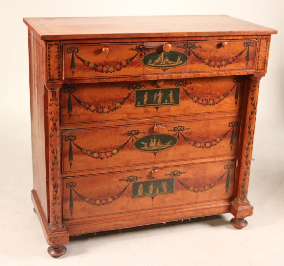 Edwardian Style Paint-Decorated Chest of Drawers - 2