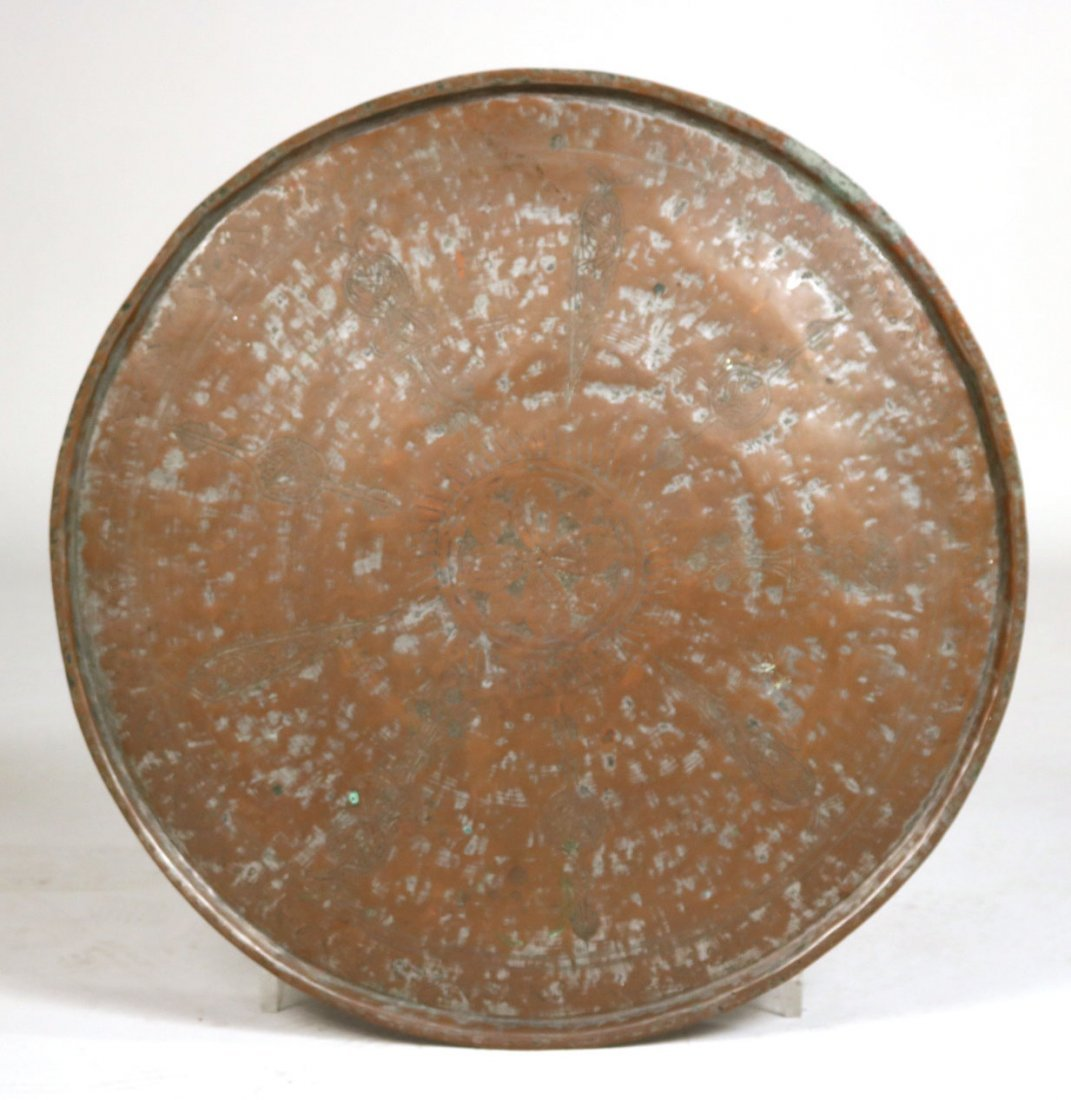Embossed Brass-Plated Large Circular Tray