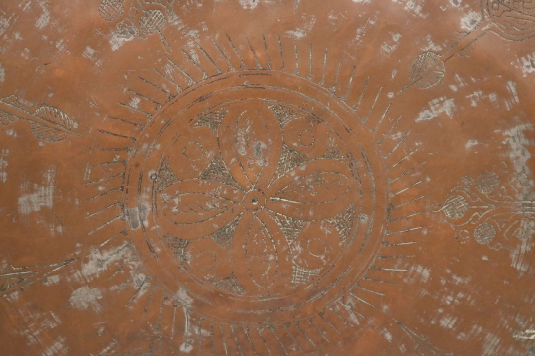 Embossed Brass-Plated Large Circular Tray - 2