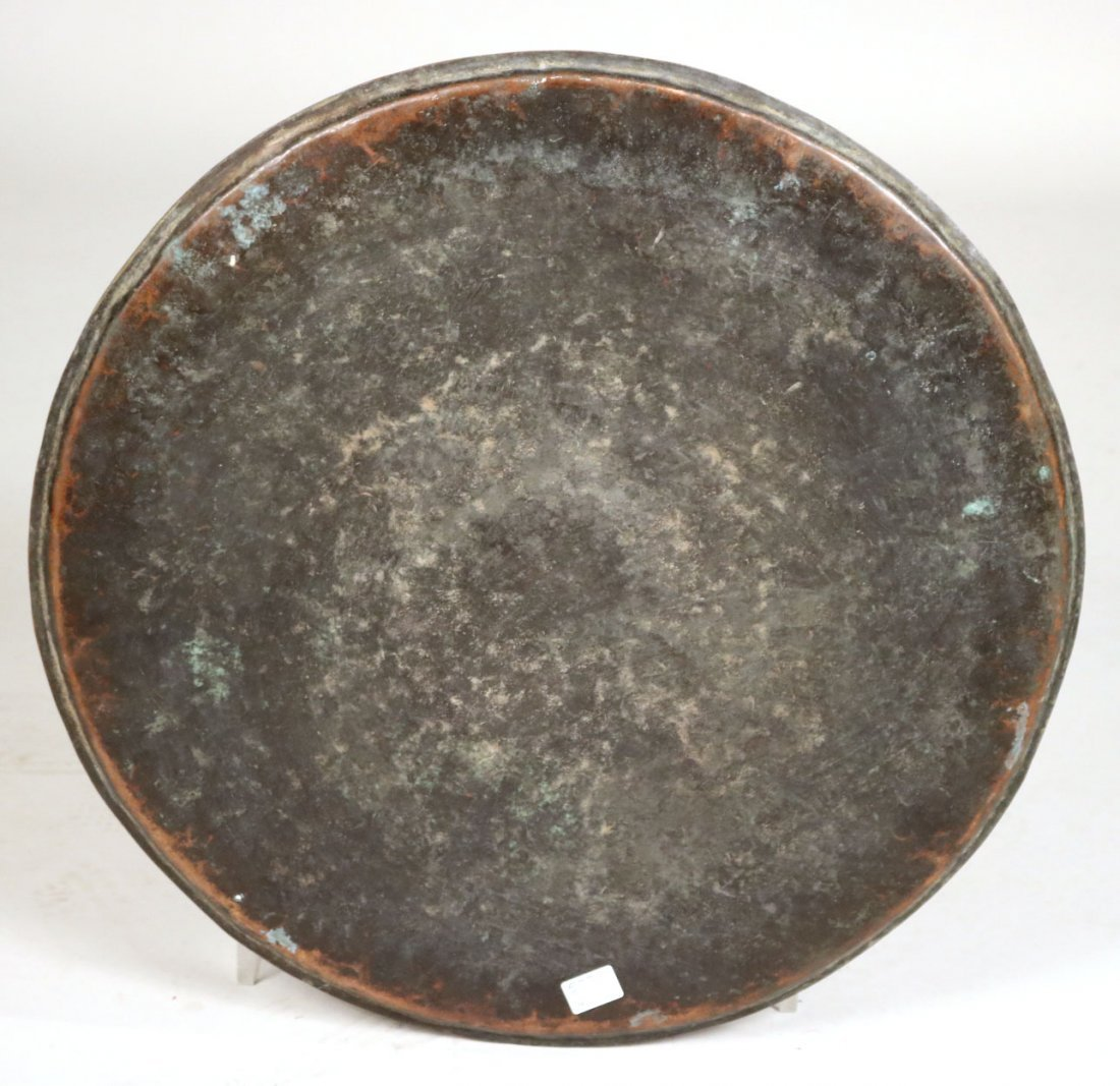 Embossed Brass-Plated Large Circular Tray - 6