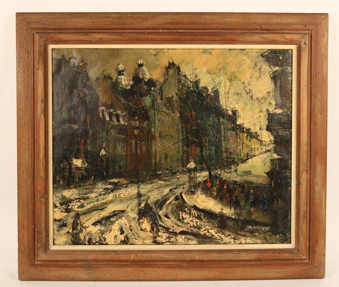 Oil on Canvas, Snowy Paris Street, Oliver Foss