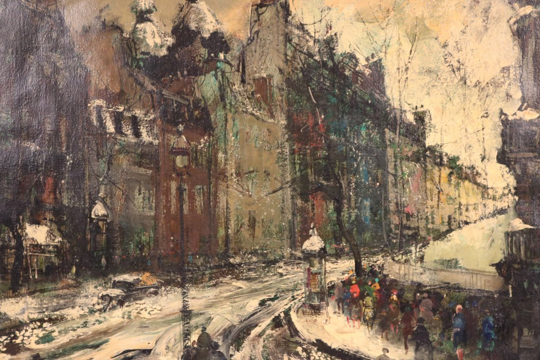 Oil on Canvas, Snowy Paris Street, Oliver Foss - 2
