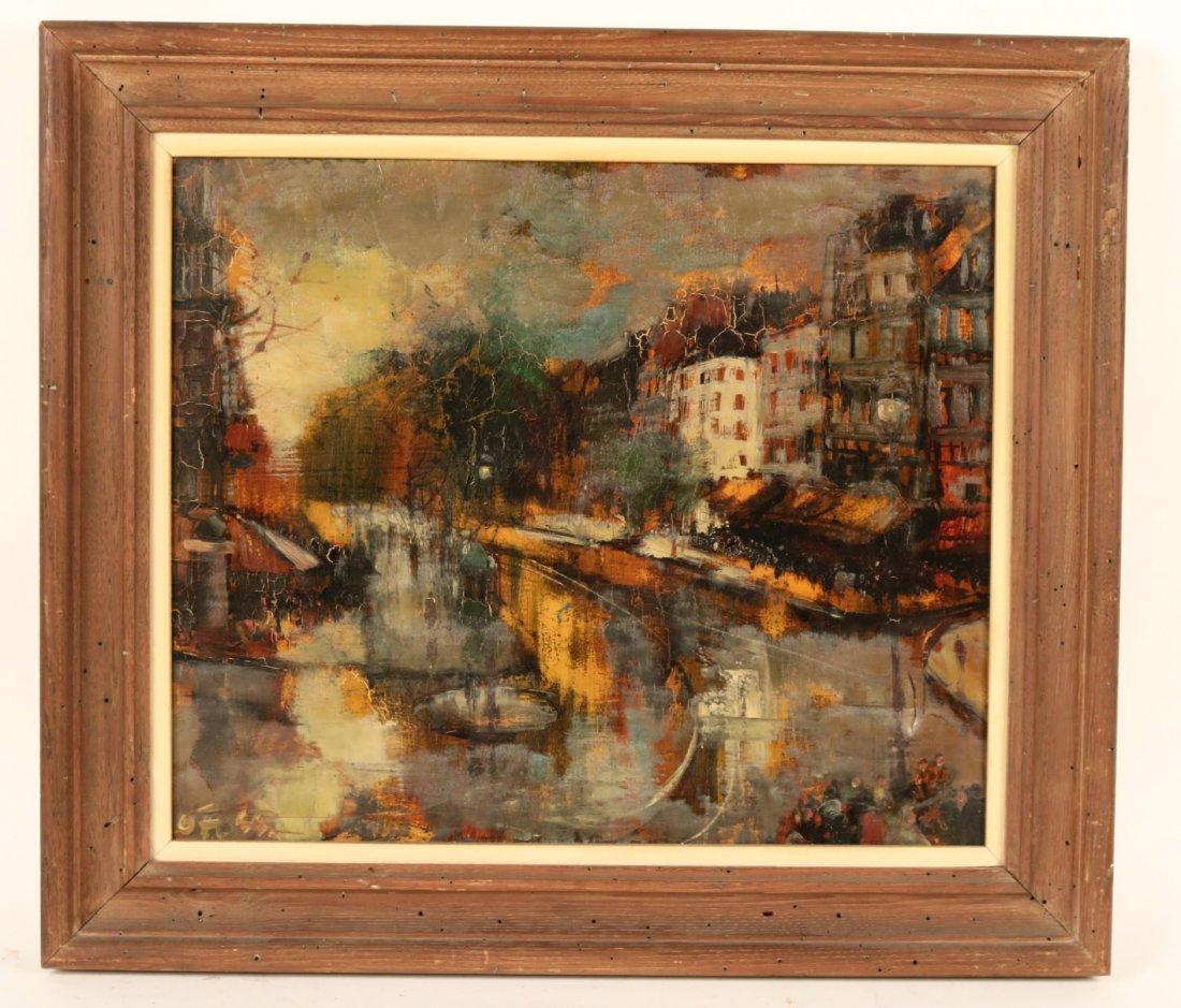 Oil on Canvas, Parisian Street Scene, Oliver Foss