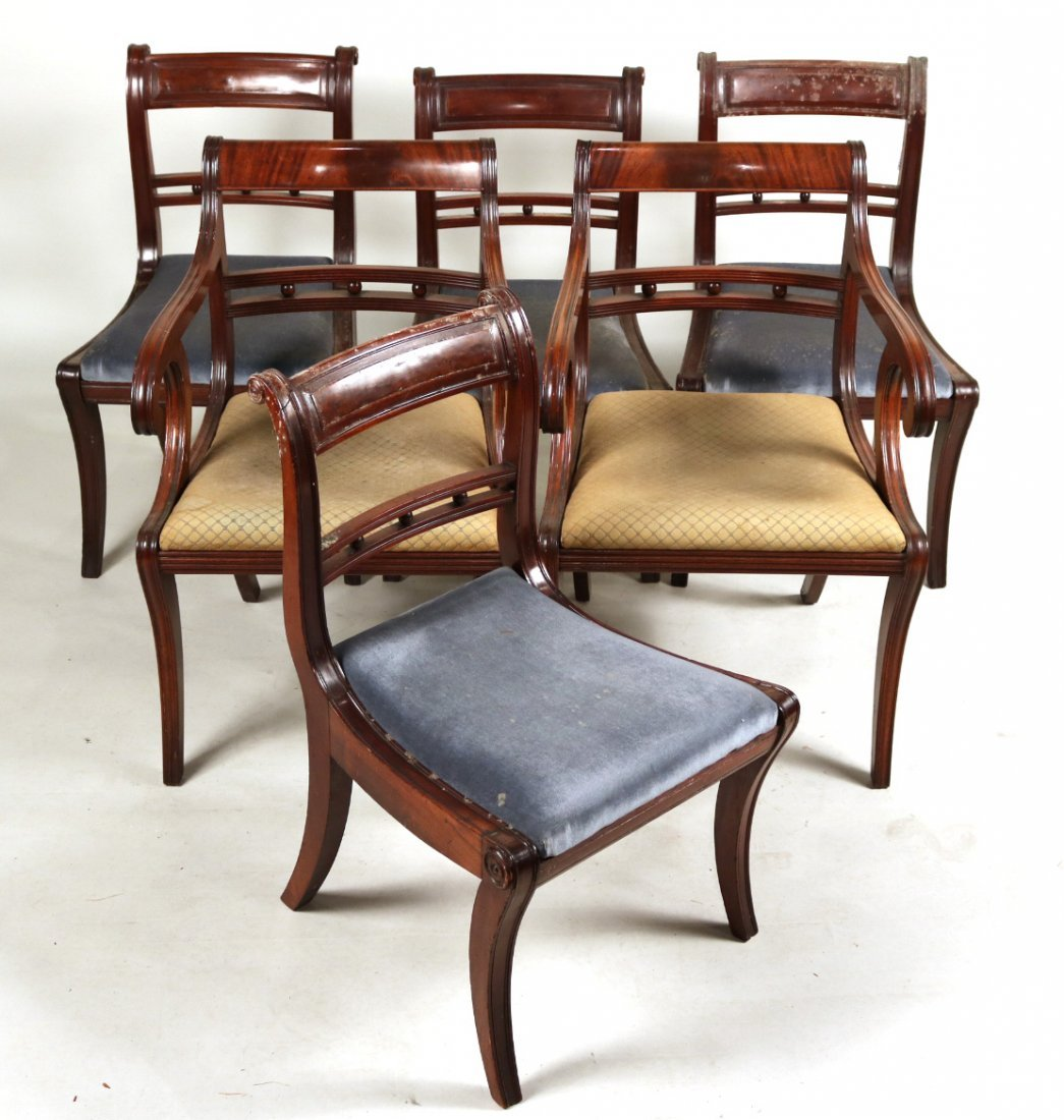 Six Similar Regency Mahogany Dining Chairs