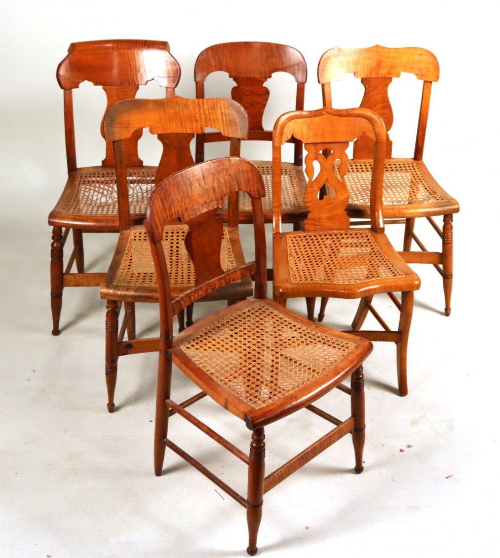 Six Similar Tiger Maple Rush Seat Chairs