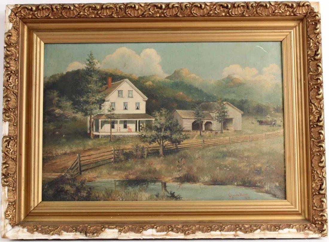 Oil on Canvas, Farmhouse, George H. Word