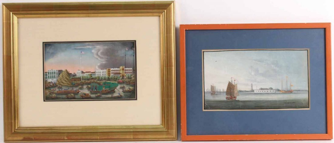 Two Gouaches Hong Kong Harbor Scenes