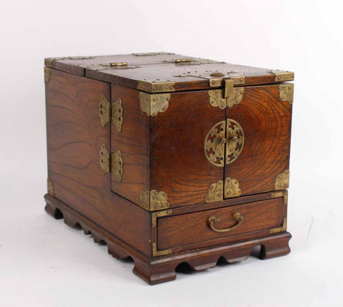 Chinese Brass-Mounted Hardwood Vanity