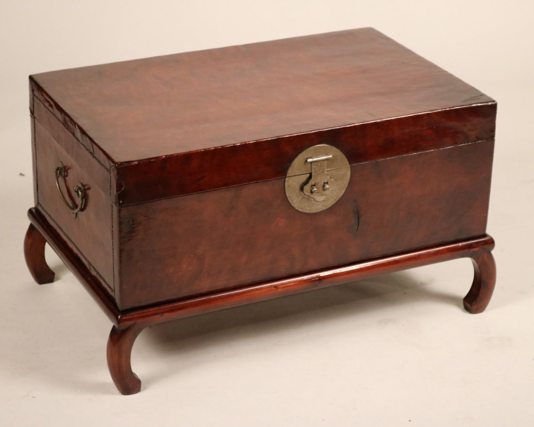 Chinese Leather-Upholstered Blanket Chest