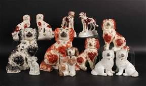 Group of Staffordshire Porcelain Dog Figures