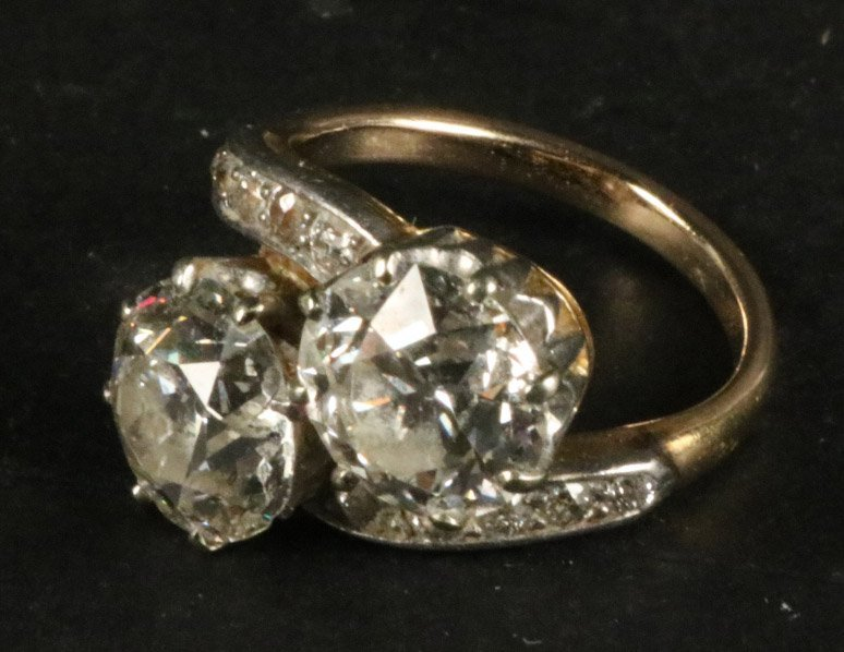 Unmarked White & Yellow Gold Diamond Ring