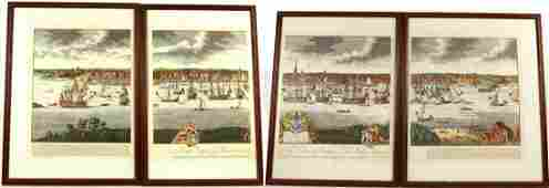 Four Hand Colored Engravings New York