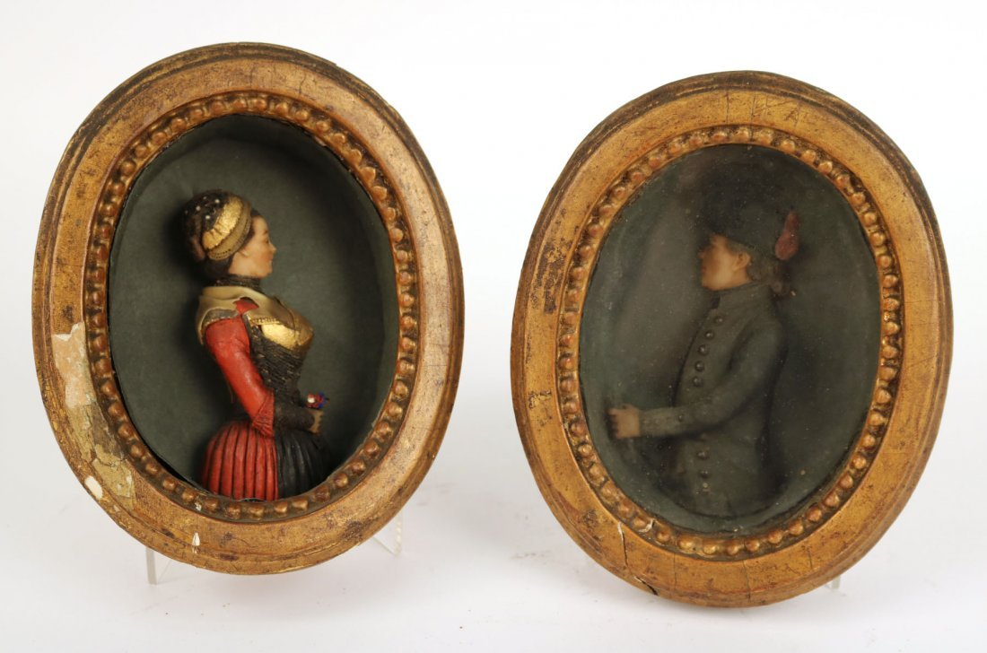 Pair of Wax Sculpture Reliefs of a Couple