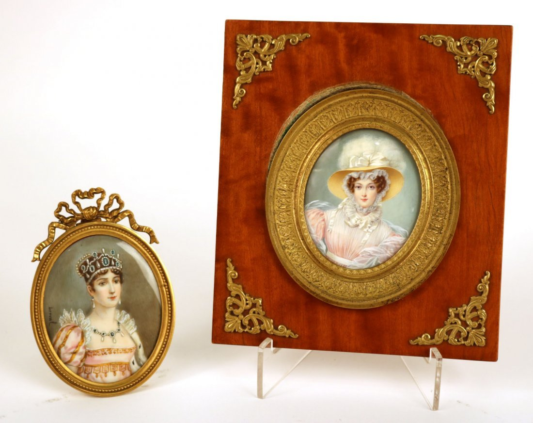 Two Portrait Miniatures of Ladies