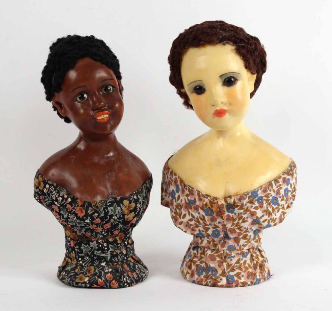 Two Wax Busts of Female Figures