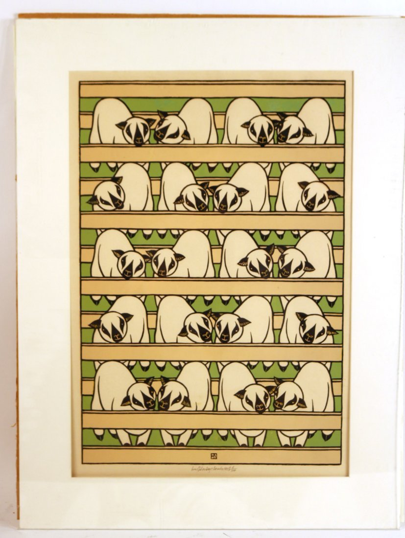 Woodcut Lambs, Jacques Hnizdovsky