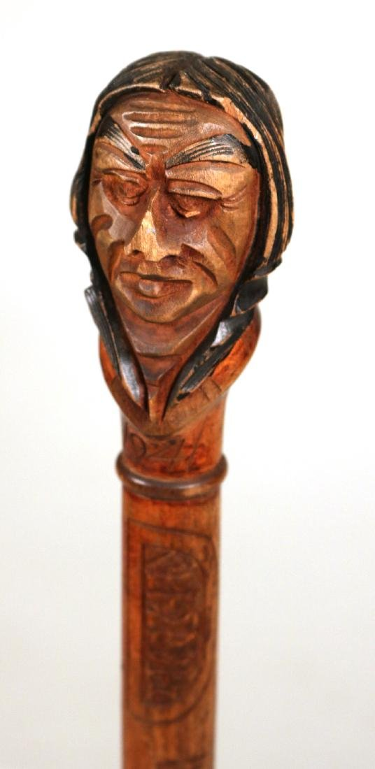 Carved Wood Walking Stick, Native American Finial