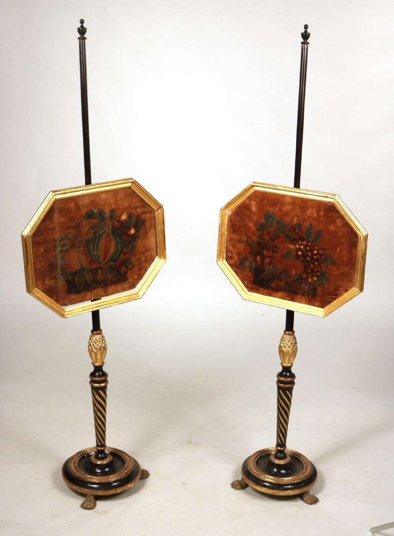 Pair of Regency Parcel-Gilt Pole Firescreens