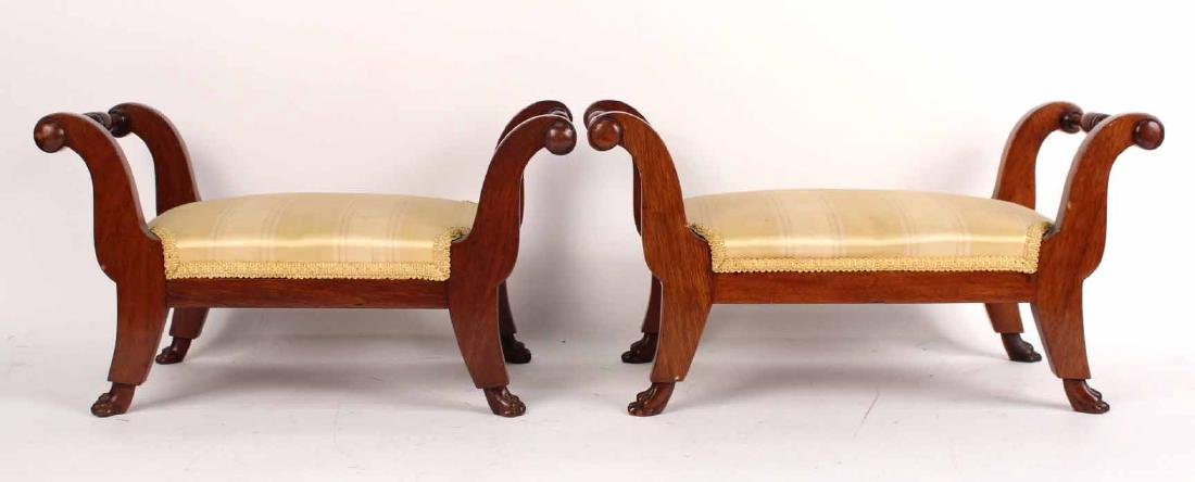Pair of Classical Mahogany Pawfoot Footstools